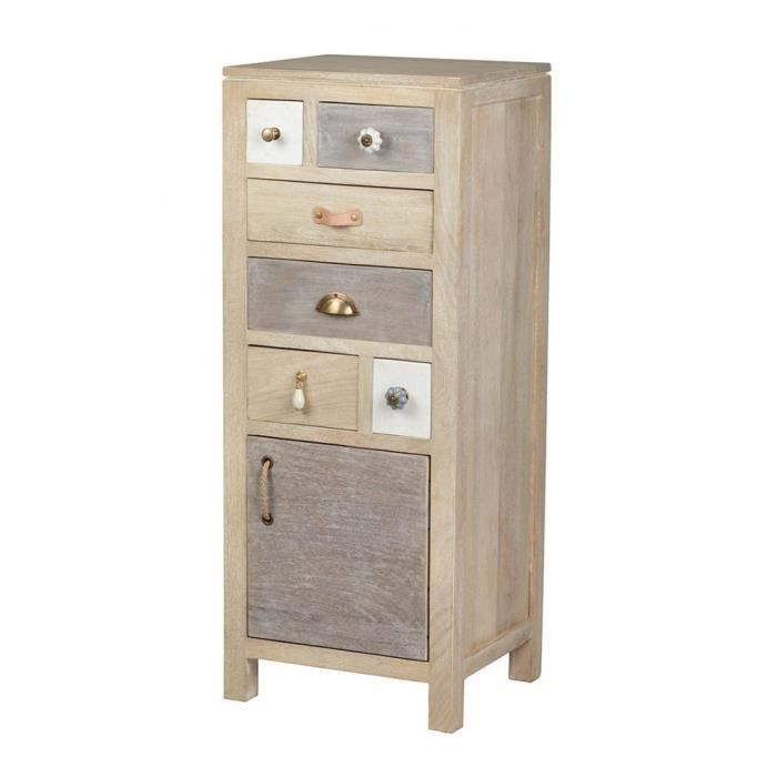 colonne chiffonnier 6 tiroirs 1 porte manguier en patchwork de couleurs 43x37x108cm evasion. Black Bedroom Furniture Sets. Home Design Ideas