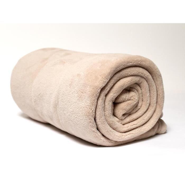 couverture extra douce 220x240 cm calin beige en microfibre achat vente couverture plaid. Black Bedroom Furniture Sets. Home Design Ideas