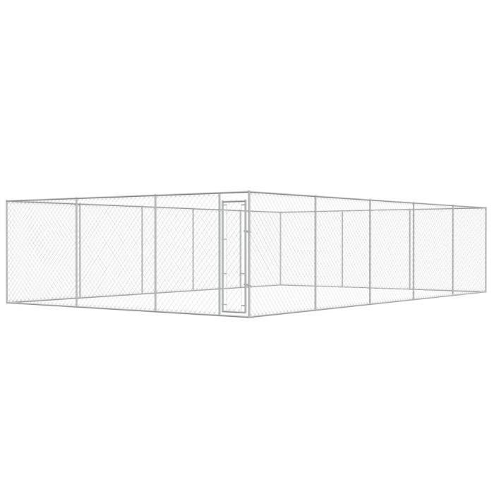 Chenil Extérieur Pour Chiens Acier Galvanisé 10 X 6 M | Argent - Accessoires Niches Enclos