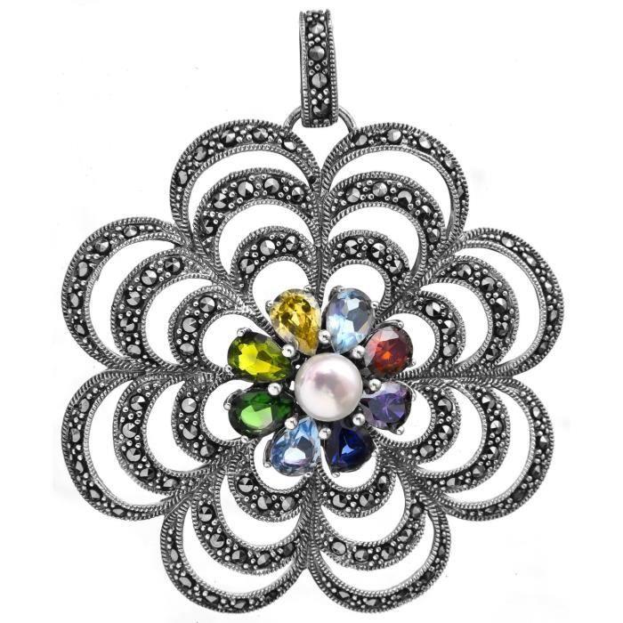 Cz des femmes et perles Pendentif fleur - argent sterling LXMEW