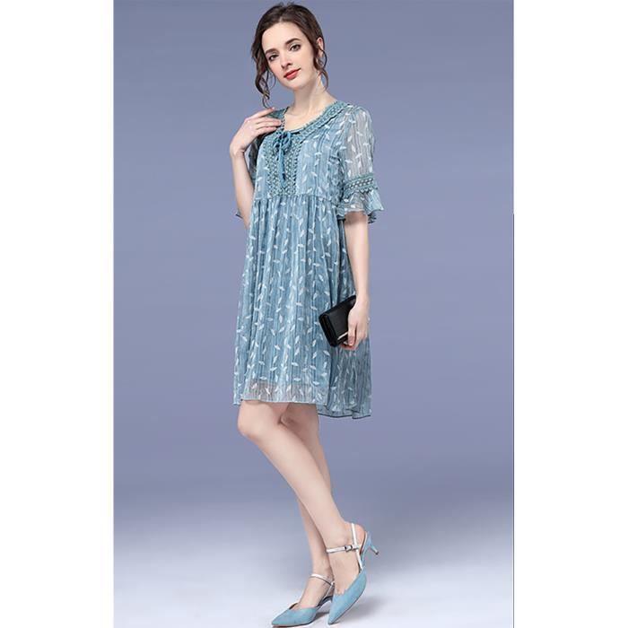 femmes vintage robe manches courtes grande taille nouvel été 2018 plus la taille bleu