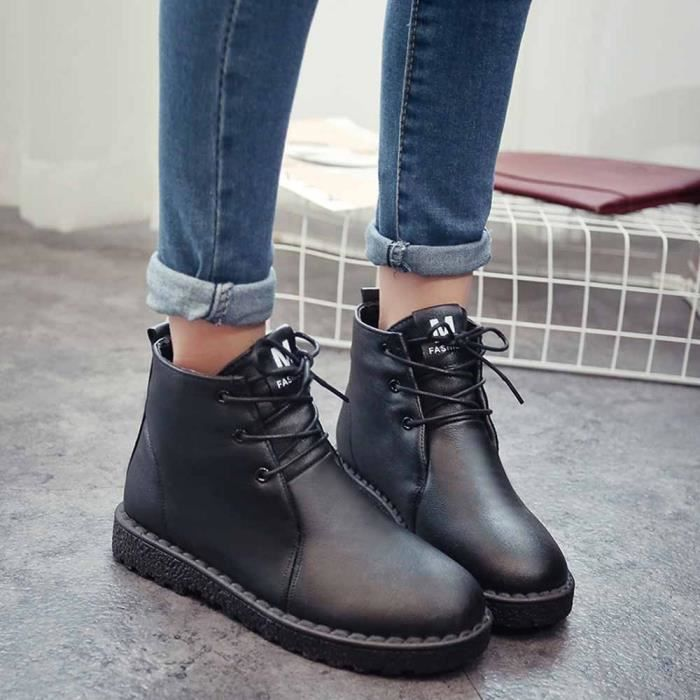 Hiver Imperméable Chaud Boot Noir De Neige Chaussures Martin Femmes Coton Bottes Étudiant gf7qwf