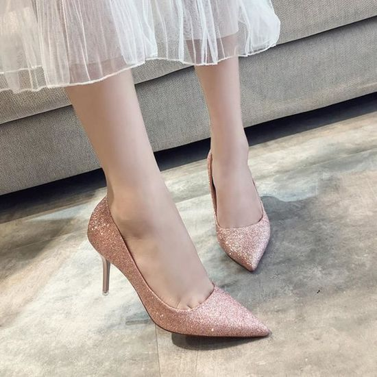 Mode féminine Pionted Slip-on Toe mariage Party talon haut de mariage Toe Chaussures Souliers simple Rose_Y*7144 Rose Rose - Achat / Vente slip-on 13ac24