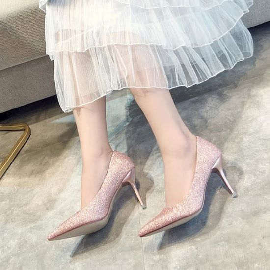 Mode féminine Pionted Slip-on Toe mariage Party talon haut de mariage Toe Chaussures Souliers simple Rose_Y*7144 Rose Rose - Achat / Vente slip-on c9005a