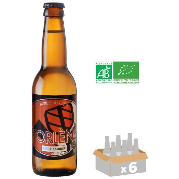 MELUSINE Korlène - Bière Ambrée Bio - 33 cl x6 - 5,6 % - Fabriquée en FranceBIERE