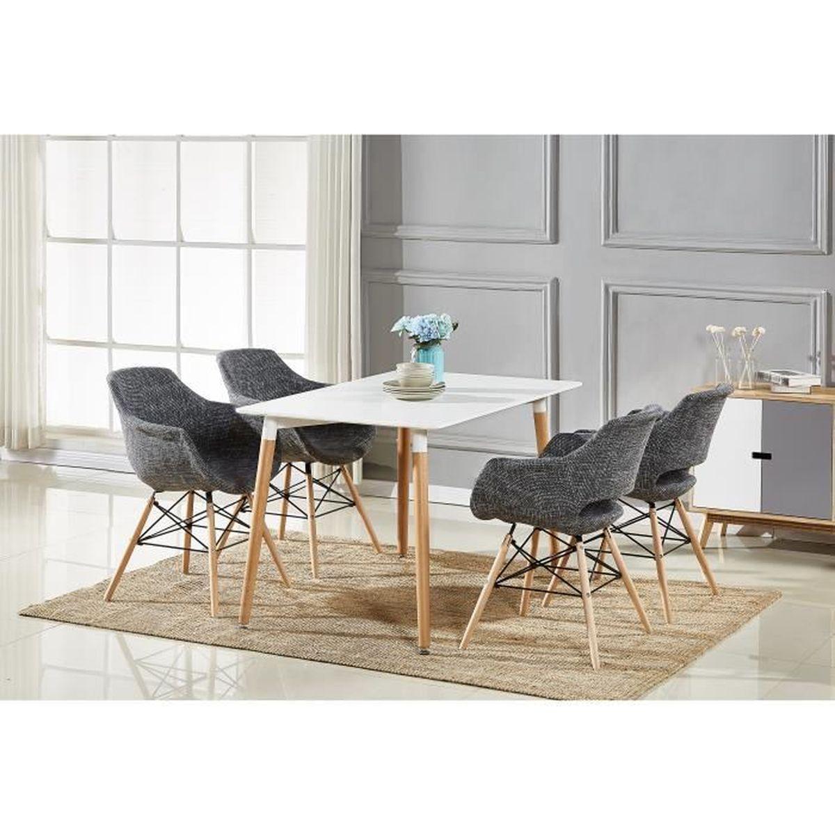 TABLE À MANGER COMPLÈTE Table à Manger Blanche + 4 Chaises Gris ...