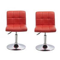 2 Chaises de cuisine salon salle à manger design hauteur réglable rouge 1909007