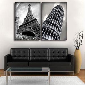 TABLEAU - TOILE Sans cadre 2Pcs Vintage Paris Towers Décor Impress
