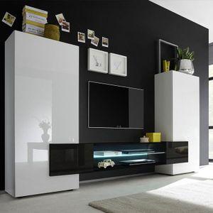 MEUBLE TV Meuble tv mural blanc et noir laqué LUXOR  Sans éc