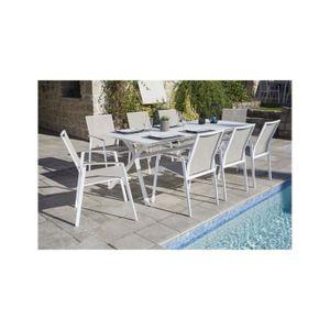 Ensemble de jardin table + 8 fauteuils coloris anthracite et beige ...
