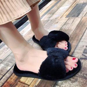 CHAUSSON - PANTOUFLE Les femmes plates molles moelleux faux de fourrure