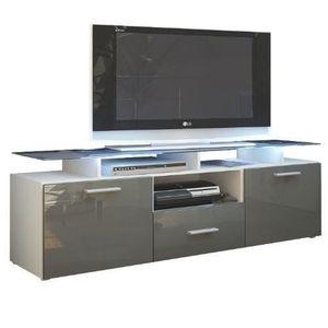 meuble tv blanc et gris laque achat vente pas cher. Black Bedroom Furniture Sets. Home Design Ideas