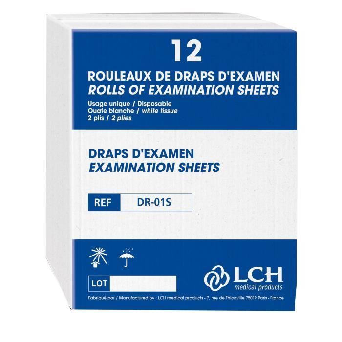 Carton de 12 Draps d'examen Blanc Lisse pur 50 x 38 cm