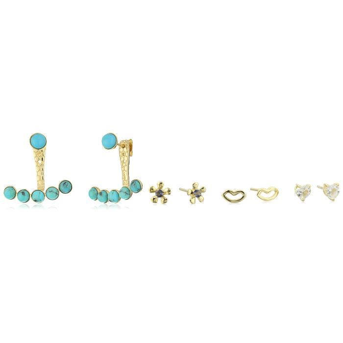 Craze Gold Plated Turquoise And White Topaz Interchangeable Earring Jacket D3TDA