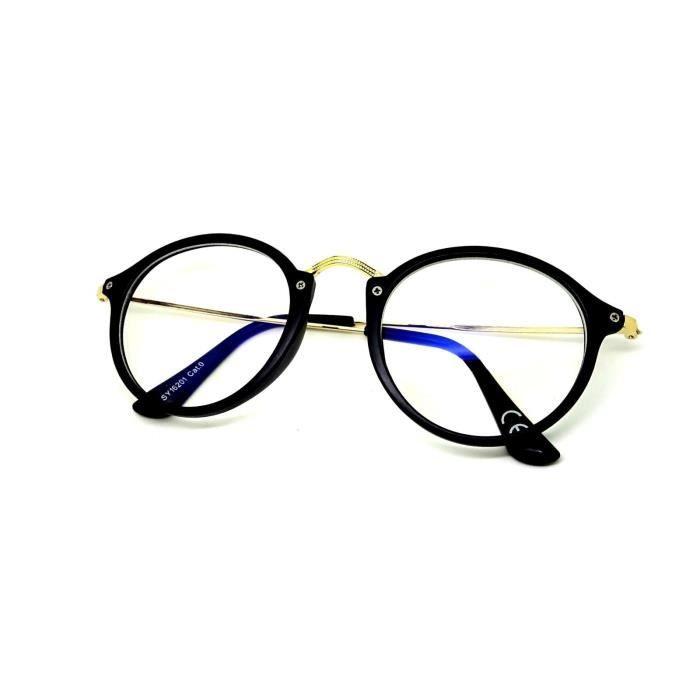 lunettes protection ecran anti lumi re bleue led repos uv400 fines rondes or noir mat achat. Black Bedroom Furniture Sets. Home Design Ideas