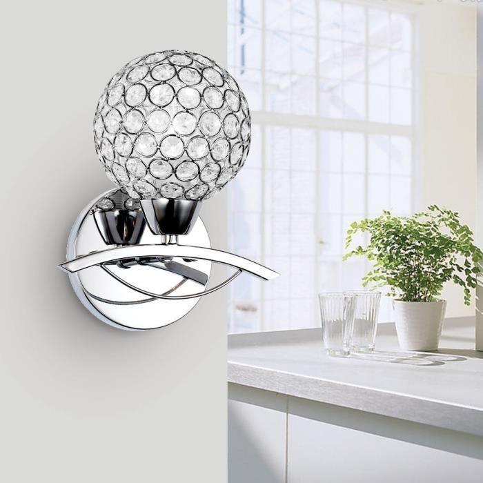 lightess applique murale design cristal 1 ampoule incandescent luminaire mural pour chambre. Black Bedroom Furniture Sets. Home Design Ideas