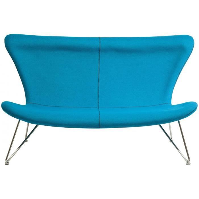 Canapé design vintage tissu bleu 3 places Achat Vente canapé