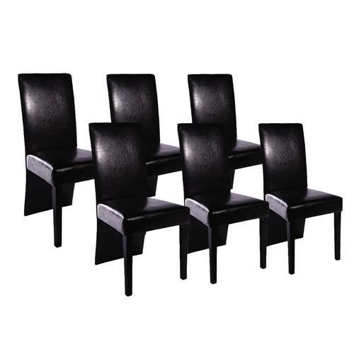 Lot De 6 Chaises De Salle A Manger Noir Achat Vente Chaise