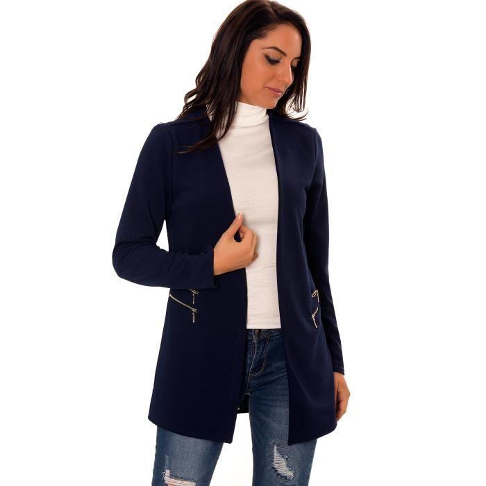 dmarkevous veste blazer femme longue bleu marine avec double zip aux poches unique bleu. Black Bedroom Furniture Sets. Home Design Ideas
