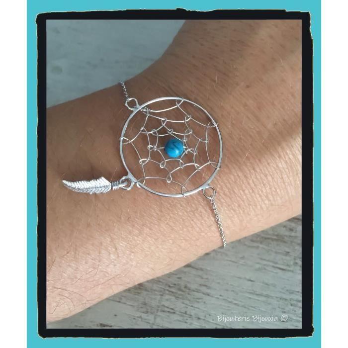 Bracelet Attrape Rêve Pierre Turquoise Argent Massif 925/000 Bijoux