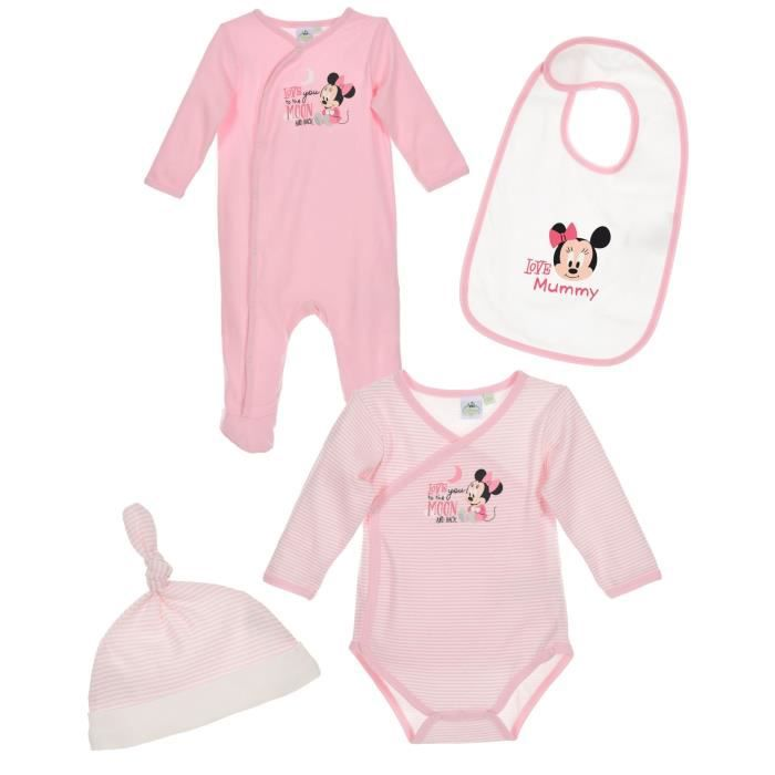 537132e239339 Set Body pyjama bavoir bonnet bébé Fille MINNIE - 100% coton Rose et ...