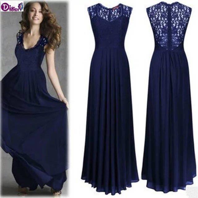 2016 robe de soir e en mousseline de soie robe bleu achat vente robe soldes d s le 10. Black Bedroom Furniture Sets. Home Design Ideas