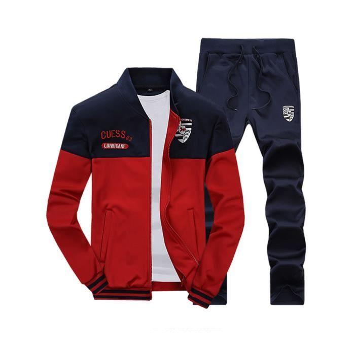 3d4886993f Survêtement manches longues Homme jogging sport collier casual stand-up  deux pièce veste +pantalon hooded/hoodies zipper Rouge