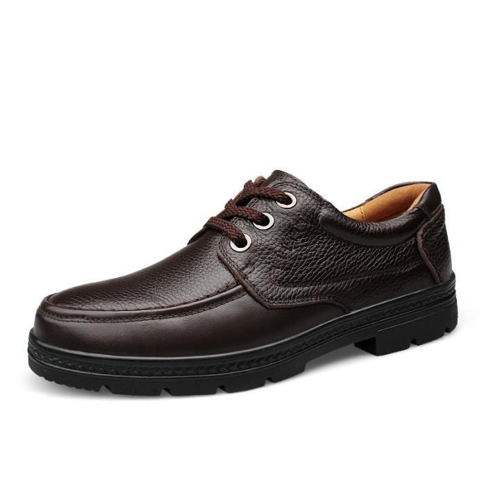 82002-Marron-43 ChaussuresHommes en cuir véritablede luxedécontractéess Confortable