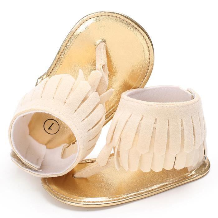 BOTTE Toddler Fille Crèche Chaussures Nouveau-Né Fleur Doux Semelle Anti-slip Bébé Sneakers Sandales@BeigeHM