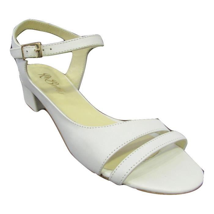 Sandale femme cuir blanc petit talon