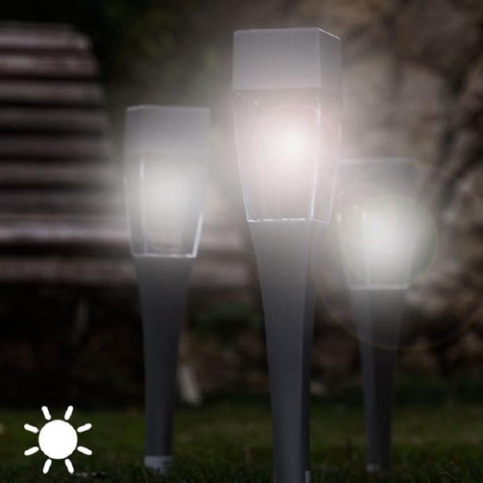 LAMPE SOLAIRE POUR JARDIN TERRASSE ALLEE ECT - LOT DE 4 LAMPES ...