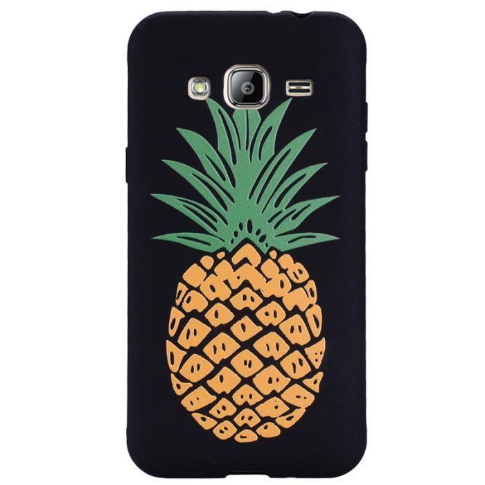 coque samsung j3 2016 ananas noir et blanc