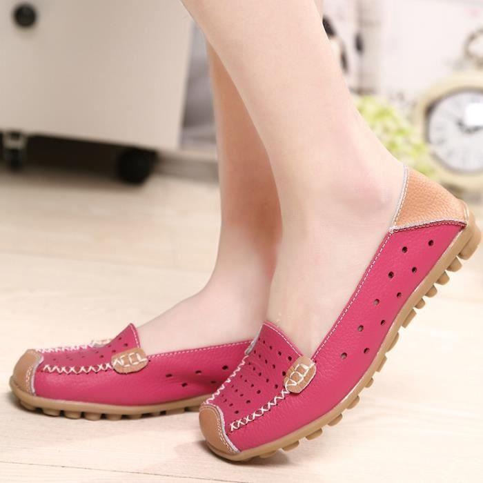 Chaussures en cuir Slip-on femme Flats Confort Chaussures Femme Printemps Eté Mocassins Chaussures plates,rose,40,2792_2792