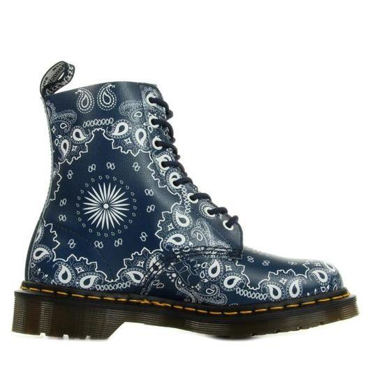 a72bdd9e42731 Boots Dr Martens Pascal White Bandana Backhand Bleu Bleu marine, blanc -  Achat   Vente bottine - Soldes  dès le 9 janvier ! Cdiscount