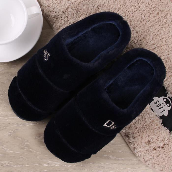 Automne et hiver Hommes et femmes Pantoufles en coton Accueil Grands étages intérieurs Fond doux Fond plus épais Garder des