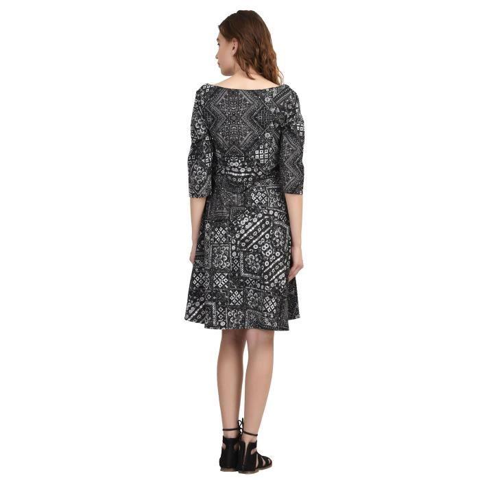 Robe Sugarkane de Crêpe dimpression noire des femmes 1PX2AC Taille-32