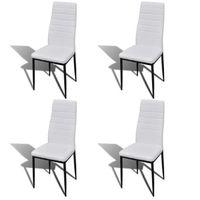 4pcs Chaise Salle A Manger Blanc Ligne Slim Pour Salon Design Elegant Confortable Durable Moderne