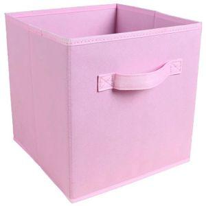 BOITE DE RANGEMENT Tiroir de rangement - Tissu - 27x27x28 cm -  rose