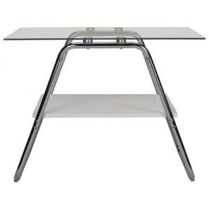 TABLE BASSE Table basse LARRY - Verre trempé & métal chromé -
