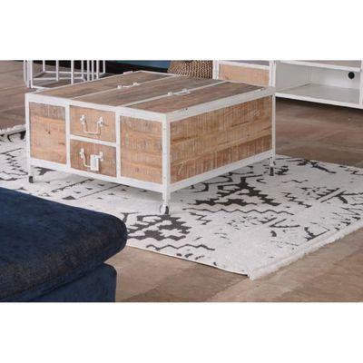 Table Basse Metal Et Bois Blanc Carre Atelier Blanc Meuble House