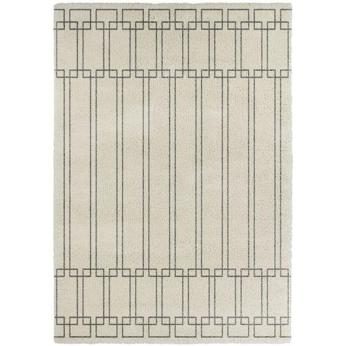 CONTINENTAL Tapis de salon laineux 120X170 cm Crème et Gris