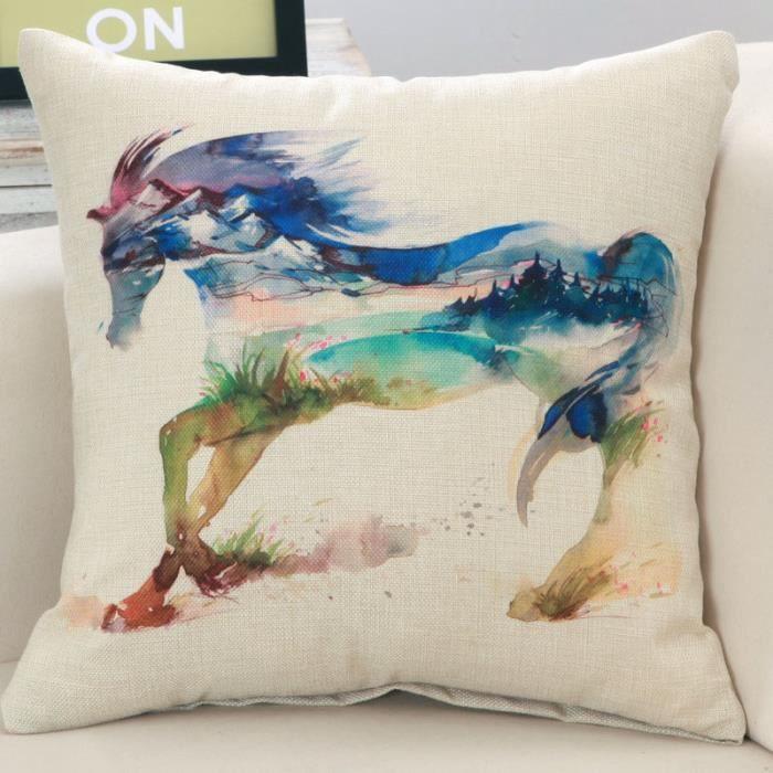 housse de coussin cheval achat vente housse de coussin cheval pas cher cdiscount. Black Bedroom Furniture Sets. Home Design Ideas