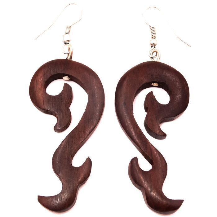 Boucle d'oreille artisanale bois