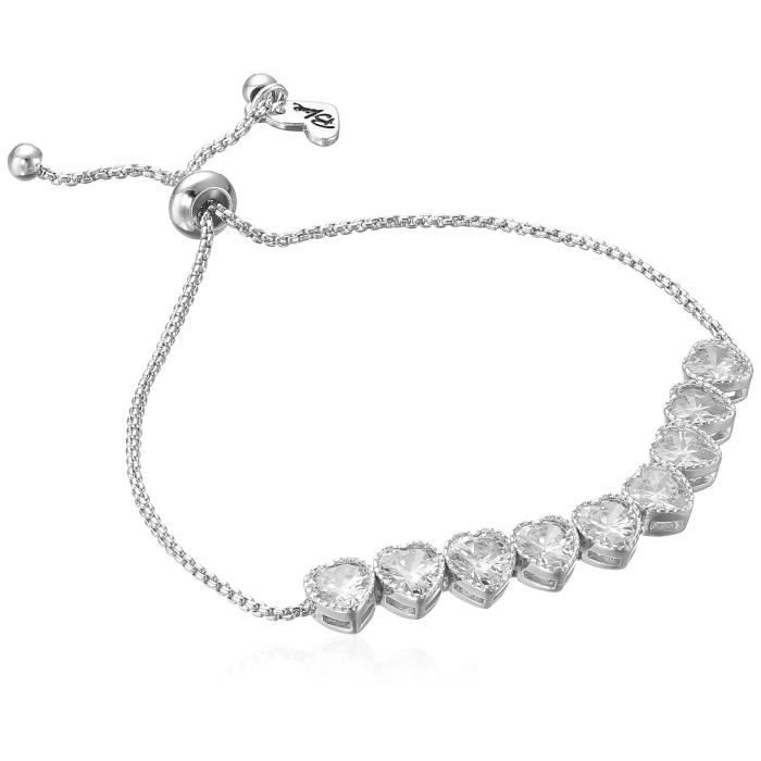"Betsey Johnson Betsey Blue"" Heart Cubic Zirconia Stone Silver Slider Bracelet HT0NV"