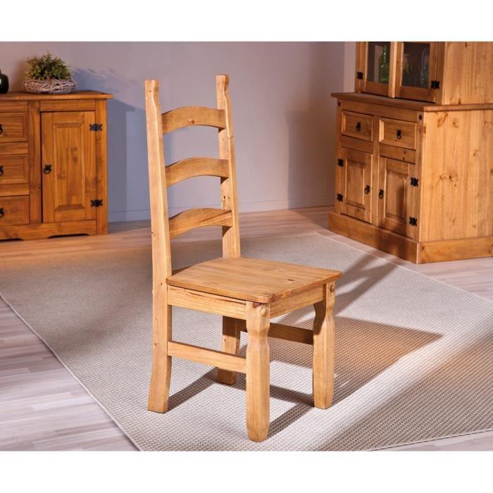 Chaise de salle à manger rustique en pin massif chêne ciré (lot de 2 ...