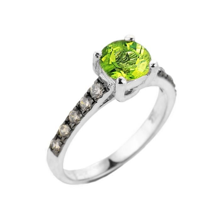 Bague Femme 10 ct Or Blanc 471/1000 Peridot et Diamant Solitaire