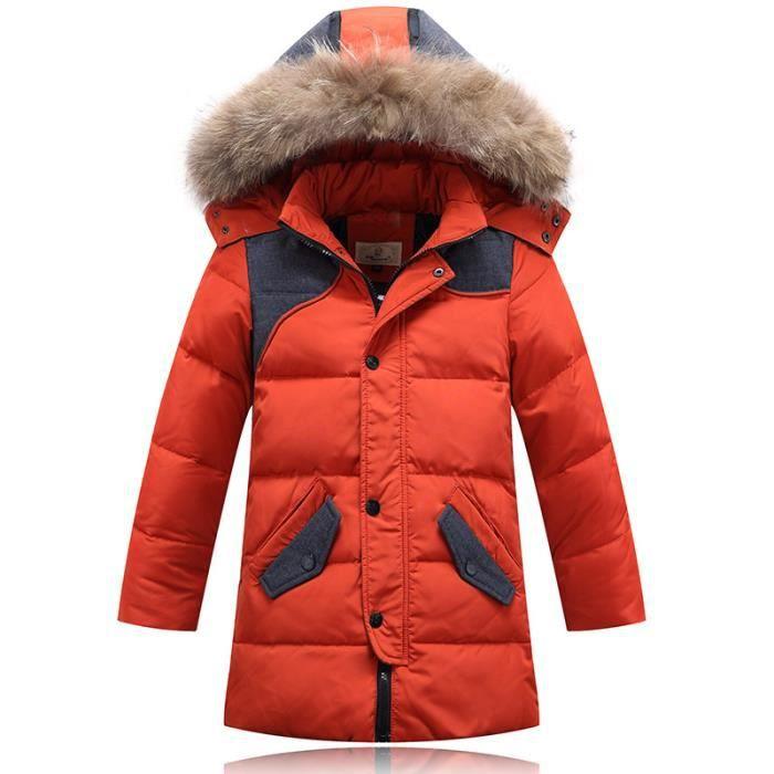 d6fa1d14820 Doudoune enfant longue à capuche fourrure doudoune garçon doudoune fille  hiver manteau 90% duvet parka Orange 8 ans-14 ans