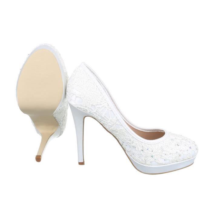 Femme chaussures escarpin Strass occupé High Heels blanc 40