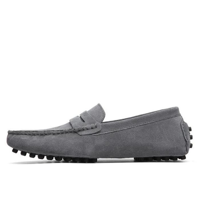Mocassins Hommes Cuir Ultra Comfortable Appartements Chaussures XFP-XZ071Gris45