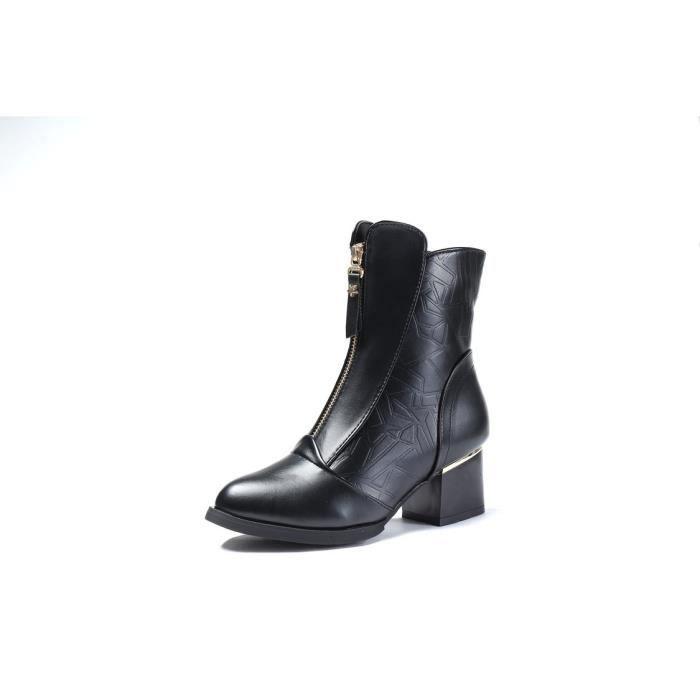 Femme dans le confort de l'automne et l'hiver bottes à talons chunky côté fermeture éclair ceinture boucle Boots femme que nue RciFMG